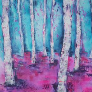 Akustikbild Wandgestaltung Birken pink