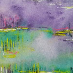Akustikbild Wandgestaltung Lavendelfeld