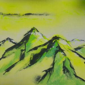 Akustikbild Wandgestaltung Bergsilhouette
